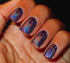 Varnished Valkyrie: Studded, Purple, Holographic Goodness aka Badass Chic Nails