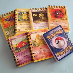 Uh, Saibh would lose her mind. Mini Pokemon Notebook Recycled Trading Cards by… Pokemon Go, Pokemon Craft, Pokemon Party, Pokemon Birthday, Cool Pokemon, Diy Pokemon Cards, Pokemon Diys, Papercraft Pokemon, Paper Crafts