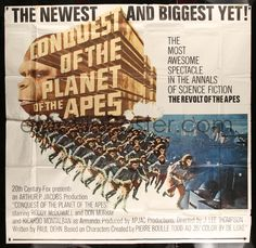 eMoviePoster.com Image For: 4f283 CONQUEST OF THE PLANET OF THE APES 6sh '72 most awesome spectacle in the annals of sci-fi!