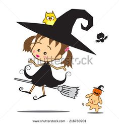 Isolated halloween cartoon cute little baby witch, vector illustration on white background - stock vector