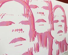 Fashion illustration face Airavata swimwear women modo rosa chunks print 3D pop art