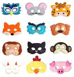 Pick Any Kids Mask Kids Mask Felt Mask Kids Face Mask Animal Mask Halloween Costume Pretend Play Dress Up Party Favors Costume - Halloween Makeup Halloween Kostüm Tier, Costume Halloween, Halloween Kids, Halloween Juegos, Raccoon Halloween, Maske Halloween, Group Halloween, Halloween Party, Felt Kids