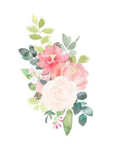 Watercolor Floral Clipart - Peony Bouquet Clipart, pink and peach flower graphics, pre-made flower arrangement PNG files Art Floral, Frame Floral, Flower Frame, Floral Drawing, Floral Design, Coral Peonies, Peonies Bouquet, Rose Bouquet, Peony Flower