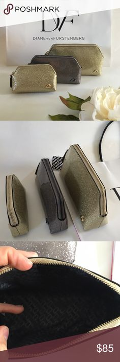 Diane Von Furstenberg 3 PC Makeup Bags Brand new with tags DVF Makeup Bags 3 piece set! They are small, medium, and large. Super cute sparkly plastic coated material. Comes in DVF shopping bag Diane von Furstenberg Bags Cosmetic Bags & Cases