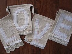 Sweet in Irish Linen and Irish lace Valentine Crafts, Be My Valentine, Bunting Garland, Garlands, Bunting Ideas, Buntings, Diy Craft Projects, Sewing Projects, Craft Ideas