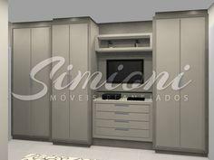 Roupeiro com tv embutida Simioni Móveis Planejados sob medida cozinhas closet armarios banheiros dormitorio modernos e linha comercial                                                                                                                                                                                 Mais