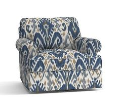 Townsend Upholstered Swivel Armchair, Polyester Wrapped Cushions, Ikat Geo Blue at Pottery Barn Mortise And Tenon, Blue Furniture, Outdoor Chairs, Furniture Chair, Furniture Slipcovers, Armchair, Grey Armchair, Upholstered Arm Chair, Perfect Chair