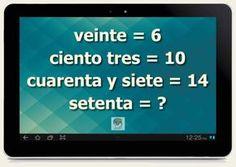 Encuentra la relación que existe entre las palabras de la izquierda y los números de la derecha y resuelve el interrogante.