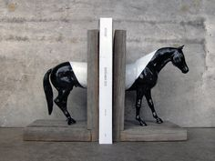 EQUINE COLLECTION color blocked horse bookend in black and white by EQUINEbyLauren | inspired by fashion