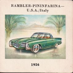 """U.S.A./ITALY 1956 Type """"Palm-Beach"""", 2 pass. Hardtop Coupe. 6-cyl. o.h.v. engine in line.  Bore and stroke 79 X 108 mm. Cubic capacity 3,205 c.c. Max. b.h.p. 122 at 4,200 r.p.m. 3 speeds. Max. speed 93 m.p.h.  From an old book that I had from the mid-1960s about cars. by David Hume."""