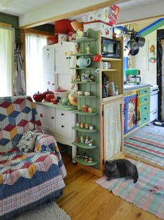 """Their motto perfectly captures the Tiny House Movement: """"Live small to have it all! Live rich with just what you need!"""" kitchen small tiny house Couple Married For 29 Years Builds Their Dream Tiny House All By Hand Tiny House Living, Small Living, Living Spaces, Living Room, Grandma's House, Storybook Cottage, Cute House, Tiny House Movement, Little Houses"""