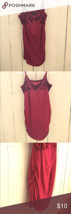 MODA INTERNATIONAL USED Redish/Burgundy in color XL rayon, spandex &a velvet cute fashion tank with adjustable shoulder straps. Ive worn as a dress as well. By MODA INTERVENTIONAL Moda International Tops Tank Tops