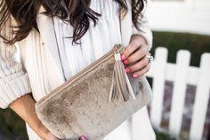 GiGi New York   Shearling Clutch   Mint Arrow Fashion Blog