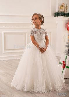 Hot Sale White Ivory Lace First Communion Dresses For Girls 2016 Beaded Holy Pageant Ball Gowns Flower Girl Dresses For Weddings
