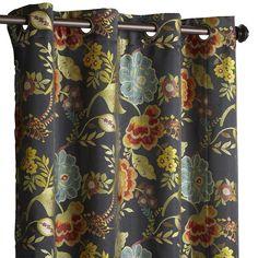 "Midnight Floral 96"" Grommet Curtain Black"