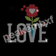 Love Valentine's Day Flower Heart Rhinestone Heat Transfers 30 Pcs Design