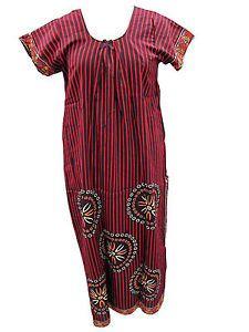 Women'S Cotton Nighties Gypsy Brown RED Linen Print Long Maxi Dress | eBay