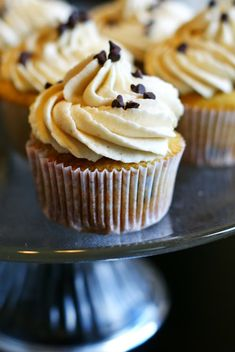 Brown sugar cookie dough frosting on chocolate chip cookie dough cupcakes!