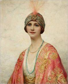 "William Clarke Wontner ""Beauté en Toilette de Style Oriental"" Vers 1914"