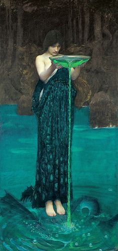 John William Waterhouse   I have this hanging in my Lounge room.  The original is in Adelaide's main Gallery and it lifesize.  It simply beautiful.  These are my favourite colours as well.