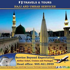 FJ Travels & Tours is providing best Hajj and Umrah Packages at very reasonable cost. You can reach them for best Hajj and Umrah package with flights. Airline Tickets, Travel Tours, Canada Travel, Calgary, Montreal, Taj Mahal, Cruise, Packaging, Building