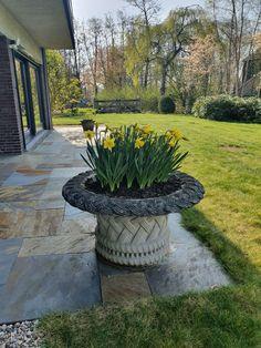Geheel in stijl met de bungalow uit de jaren '70 is er gekozen voor leisteen om het terras mee aan te leggen.