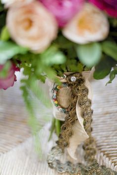 Pretty touch on bouquet ribbon Ribbon Bouquet, Bouquet Charms, Wedding Blog, Bride, Celebrities, Gallery, Pretty, Floral, Photography