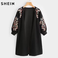 SHEIN Blossom Embroidered Bishop Sleeve Cardigan Autumn Black Collarless Long Sleeve Women Tops Fashion Long Cardigan-in Cardigans from Women's Clothing & Accessories on Aliexpress.com | Alibaba Group