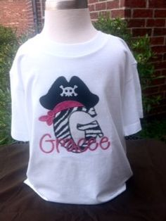Personalized Pirate Hat with Letter or Number Applique Top w/ Free Name Monogram Boys or Girls. $19.99, via Etsy.