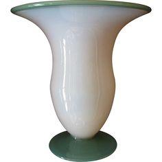 Fry Foval Art Deco Glass Vase.  White with Jadite Green Base.