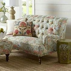 Luxury Blue Floral Accent Loveseat Couch Settee Tufted Curved Back Nailhead  Sofa