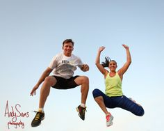 Sporty Engagement Photos - Couple Jumping
