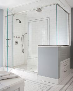Create a gorgeous walk-in shower with our tips on tile treatments, lighting, layout, storage, and more. Whether you're working with a tight space or have room to fill, these walk-in shower ideas will add a little luxury to your every day. #walkinshower #walkinshowerideas #bathroommakeover #showerideas #bhg Shower Alcove, Shower Storage, Shower Rooms, Open Bathroom, Bathroom Interior, Master Bathroom, Shower Floor, Walk In Shower, Two Person Shower