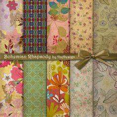 Bohemian Rhapsody - Digital Paper Scrapbook Paper Decoupage Paper Boho Paper Hippie Paper Digital Collage Sheet