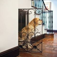 Dog house under stairs...love this. So much better than a dog crate!