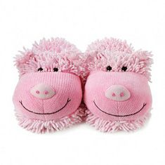 """Fuzzy Friends """"Pig"""" Slippers from Aroma Home $24 - SHOP http://www.thepajamacompany.com/store/17938.html?category_id=10967"""