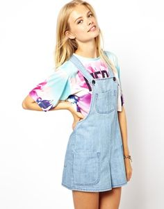 Just bought myself a pair for summer. so cute! ASOS Short Denim Bib Dungarees with Shadow Pocket