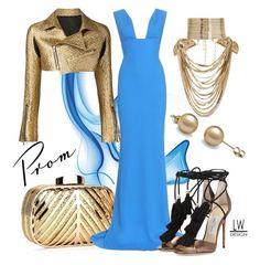 """""""Gold n Blue"""" by kashmier ❤ liked on Polyvore featuring Rosantica, Chicnova Fashion, STELLA McCARTNEY, Jimmy Choo, Creatures Of The Wind, promdoover and leatherwooddesign"""