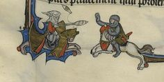 Woman with spindle and distaff fights with knight