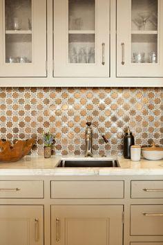 Estelle faucet + copper metallic backspash = gorgeous! Design by Pepe Studio, Inc., photo by Karyn Millet