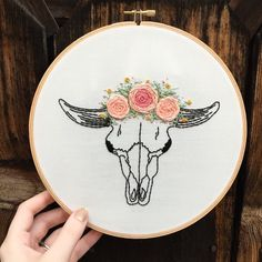 Hand embroidered cow skull with flower crown, colorful floral embroidery, anatomy art, 8 inch hoop