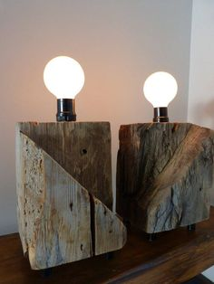 Recycled barn wood table lamp by Atypiq on Etsy