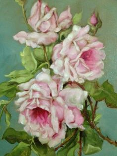 Barnes Oil Painting Pink Roses Vintage Antique Style Shabby Still Life Aqua | eBay