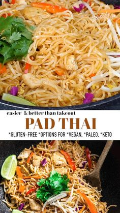 This Pad Thai recipe is easy to make in under 30 minutes and full of authentic Thai flavors. Our healthy homemade Pad Thai is made in one pot and full of the traditional sweet, sour, spicy and savory flavors that you love from your favorite takeout restaurant. Perfect for meal prep and easy to customize. Includes options for grain-free, paleo, Whole30 and low carb. #padthai #glutenfree #thairecipe Easy Crockpot Chicken, Chicken Recipes, Lunch Recipes, Healthy Dinner Recipes, Breakfast Recipes, Beef Broth Soup Recipes, Sugar Free Low Carb Recipe, Tasty Videos, Food Videos
