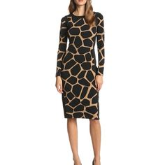 "Maggy london giraffe dress-size-10 blk/tan Beautiful giraffe print dress. Features a center back exposed zipper, classic neckline and long sleeves. Fully lined. Approx 27"" long. Dry clean only Maggy London Dresses"
