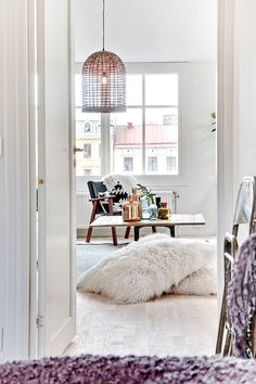 floor cushions + pendant light