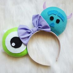 Mike and Sully Disney Mouse Ears Disney Diy, Diy Disney Ears, Disney Mickey Ears, Disney Bows, Disney Crafts, Minnie Mouse, Disney Ideas, Monster Inc Costumes, Monster Inc Party