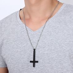 Male Black Plated St Peter's Inverted Cross Pendant Necklace for Men Stainless Steel Choker Crux de Sanctus Petrus Jewelry Like and Share if you want this #Jewelry #shop #beauty #Woman's fashion #Products