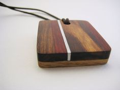Handmade Wood Pendant with Aluminum Accents - Left of Red by RamshackleStudio on Etsy