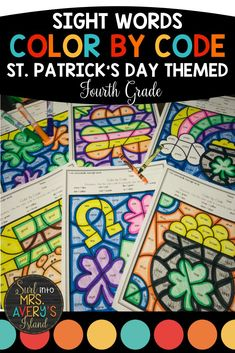 "St. Patrick's Day is such a FUN day, and these no prep color by sight word worksheets are perfect for morning work, literacy centers, fast finishers, inside recess, etc.  If your fourth grade students need extra practice mastering their sight words to increase their reading fluency, these differentiated printables are guaranteed NOT to disappoint!  Beware... your students will be BEGGING you for more ""fun sheets""! #fourthgradeactivities #frywords #sightwords #colorbycode #stpatricksdayactivities"